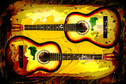 Acoustic Guitar Digital Art Metal Prints - Abstract Acoustic Metal Print by David G Paul