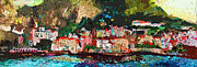 Travel  Mixed Media - Abstract Amalfi Coast Panoramic Painting by Ginette Callaway