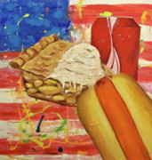 July 4th Paintings - Abstract America by Tracey Bautista