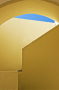 Curved Framed Prints - Abstract Architecture In Yellow Framed Print by Meirion Matthias