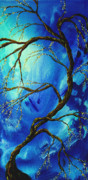 Asia Paintings - Abstract Art Asian Blossoms Original Landscape Painting BLUE VEIL by MADART by Megan Duncanson