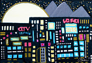 Abstract Stars Drawings Metal Prints - Abstract Art Contemporary Cityscape Design BACK IN THE DAY by ROMI Metal Print by Romi  Neilson