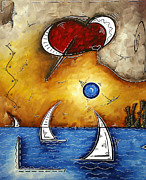 Cityscape Paintings - Abstract Art Contemporary Coastal Cityscape 3 of 3 CAPTURING THE HEART OF THE CITY I by MADART by Megan Duncanson