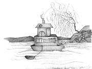 Fishing Boat Drawings Framed Prints - Abstract Art Figurative House Boat Black and White Drawing ANNIES RIVER by ROMI Framed Print by Romi  Neilson