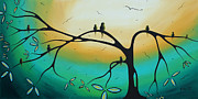 Teal.turquoise Framed Prints - Abstract Art Landscape Bird Painting FAMILY PERCH by MADART Framed Print by Megan Duncanson