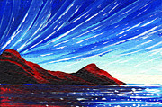 Red Mountains Prints - Abstract Art Landscape Seascape Original Painting BLUE LIGHT by MADART Print by Megan Duncanson