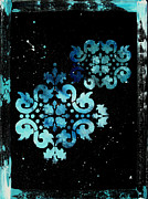 Stencil Prints - Abstract Art Original Decorative Painting MYSTERIOUS by MADART Print by Megan Duncanson