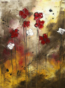 Licensor Tapestries Textiles - Abstract Art Original Flower Painting FLORAL ARRANGEMENT by MADART by Megan Duncanson