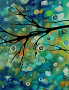 Licensor Prints - Abstract Art Original Landscape Painting Colorful Circles MORNING BLUES II by MADART Print by Megan Duncanson