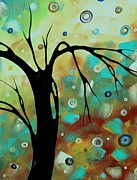Licensor Framed Prints - Abstract Art Original Landscape Painting Colorful Circles MORNING BLUES III by MADART Framed Print by Megan Duncanson