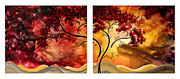 Brown Leaves Prints - Abstract Art Original Landscape Painting SWEET EMBRACE by MADART Print by Megan Duncanson