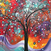 Vibrant Paintings - Abstract Art Original Landscape PSNOW FALL by MADART by Megan Duncanson