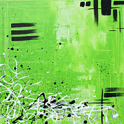 Lime Paintings - Abstract Art Original Painting GREEN DREAMS by MADART by Megan Duncanson