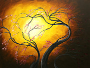 Cherry Blossoms Painting Posters - Abstract Art Tree FIRE BLOSSOMS by MADART Poster by Megan Duncanson
