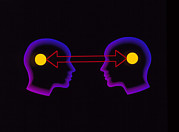 Telepathy Posters - Abstract Artwork Of Communication Between 2 People Poster by Laguna Design