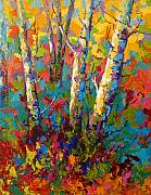 Trees Paintings - Abstract Autumn II by Marion Rose