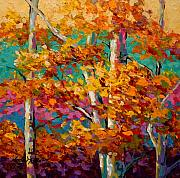 Fall Leaves Paintings - Abstract Autumn III by Marion Rose