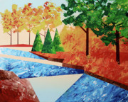 Sunrise Painting Originals - Abstract Autumn River Landscape by Mark Webster