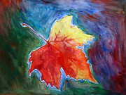 Grapevine Red Leaf Painting Posters - Abstract Autumn Poster by Shakhenabat Kasana