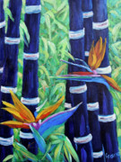 Original  By Artist Paintings - Abstract Bamboo and Birds of paradise 04 by Richard T Pranke