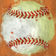 Baseball Digital Art Posters - Abstract Baseball Poster by David G Paul