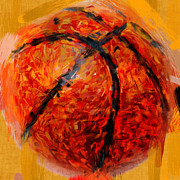 Sports Digital Art Posters - Abstract Basketball Poster by David G Paul