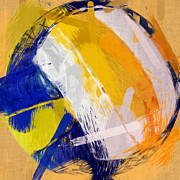 Sports Art Digital Art Posters - Abstract Beach Volleyball Poster by David G Paul