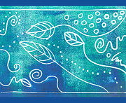 Relief Print Art - Abstract Block Print in Blue by Ann Powell