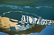 Nonrepresentational Prints - Abstract Boat Reflection Print by Dave Gordon