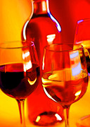 Sparkling Wine Posters - Abstract Bottle of Wine and Glasses of Red and White Poster by Elaine Plesser