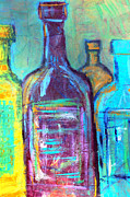 Saturated Paintings - Abstract Bottles by Janice Gelona