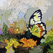 Large Format Posters - Abstract Butterfly on Lantana Poster by Ginette Fine Art LLC Ginette Callaway