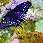 Provence Mixed Media Posters - Abstract Butterfly Painting Black Swallowtail Poster by Ginette Callaway