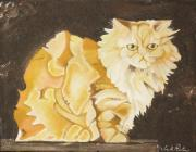 Arts In Wonderland Prints - Abstract Cat Print by Joseph Palotas