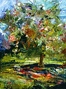 Cherry Art Mixed Media Prints - Abstract Cherry Tree  Print by Ginette Callaway