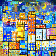Moon Digital Art Prints - Abstract City Print by Setsiri Silapasuwanchai