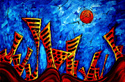 Licensor Prints - Abstract Cityscape Art Original City Painting THE LOST CITY II by MADART Print by Megan Duncanson