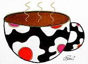 Coffee Mug Drawings Prints - Abstract Coffee Art Contemporay Whimsical Design HOT CUPPA 92 by ROMI Print by Romi  Neilson