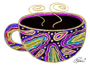 Coffee Mug Drawings Prints - Abstract Coffee Art Contemporay Whimsical Design HOT CUPPA 94 by ROMI Print by Romi  Neilson