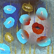 Lavander Paintings - Abstract Colorful Poppies by Georgeta  Blanaru