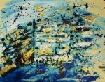 Rabbi Paintings - Abstract Contemporary Western Wall Kotel Prayer Painting with Splatters in Blue Gold Black Yellow by M Zimmerman