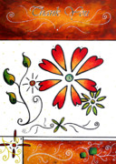 Flower Design Painting Posters - Abstract Decorative Greeting Card Art THANK YOU by MADART Poster by Megan Duncanson