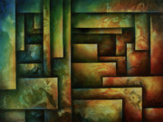 Earth Tone Painting Framed Prints - Abstract Design 102 Framed Print by Michael Lang