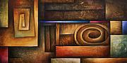 Earth Tone Art Metal Prints - Abstract Design 30 Metal Print by Michael Lang