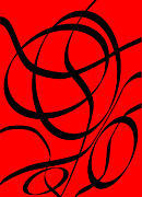 Caligraphy Digital Art - Abstract Design in Red and Black by Dave Gordon
