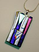 Fused Glass Jewelry - Abstract Dichroic Fused Glass Pendant by Jeannie Capranica