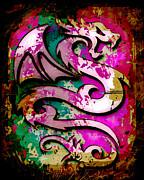 Abstract Dragon Print by David G Paul