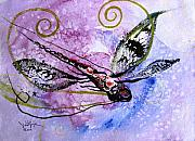 Dragonfly Framed Prints - Abstract Dragonfly 6 Framed Print by J Vincent Scarpace