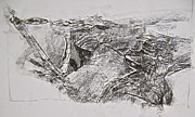 Textures Drawings - Abstract Expressionist Experimental Sketch 4  by Cliff Spohn