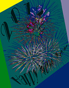 Purple Fireworks Prints - Abstract Fireworks for 2012 Print by DigiArt Diaries by Vicky Browning